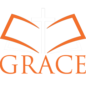 Logo an open Bible with a cross over the words Grace Baptist Church